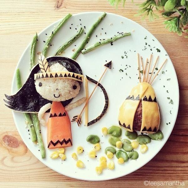 L'art de dessiner avec la nourriture. Samantha Lee, blogueuse sur Eatzy Bitzy, travaille comme organisatrice de fêtes pour enfants. Découvrez quelques-unes de ses réalisations artistiques avec de la nourriture.