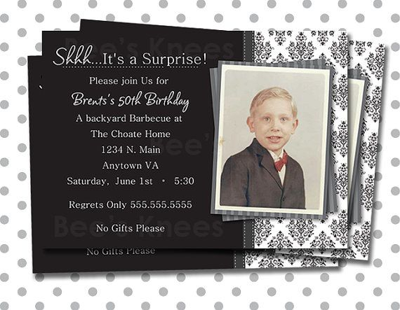 Printable Mens Birthday Invitation surprise party for any age.
