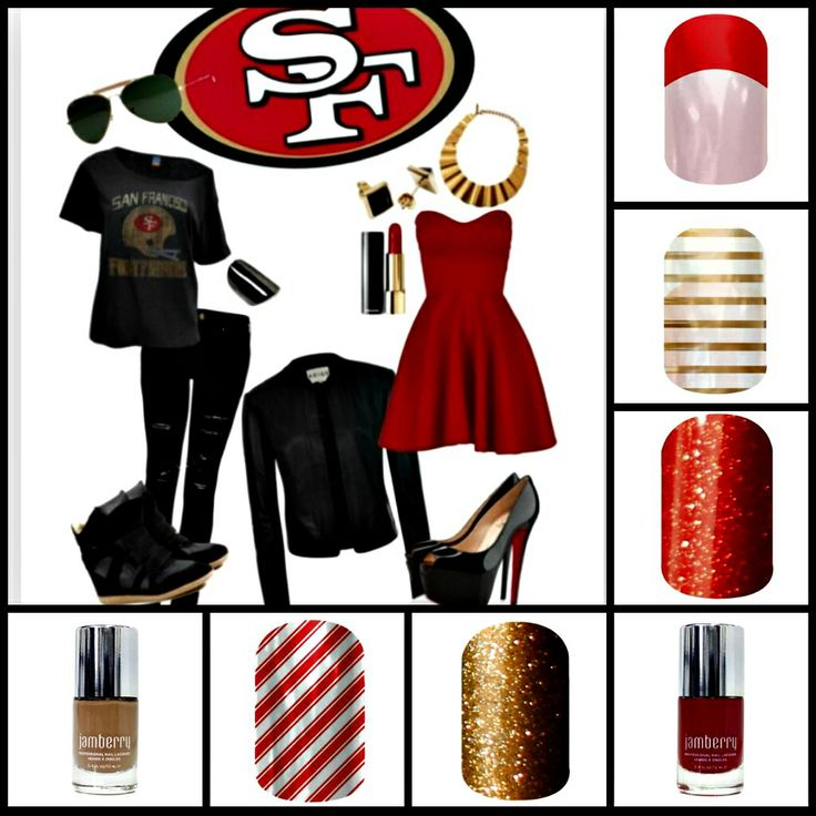 49ers outfit with nail designs to go with it!  sairameneses.jamberrynails.net