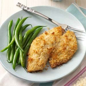 Breaded Baked Tilapia. Super tasty ... We used costco tilapia and panko breadcrumbs.