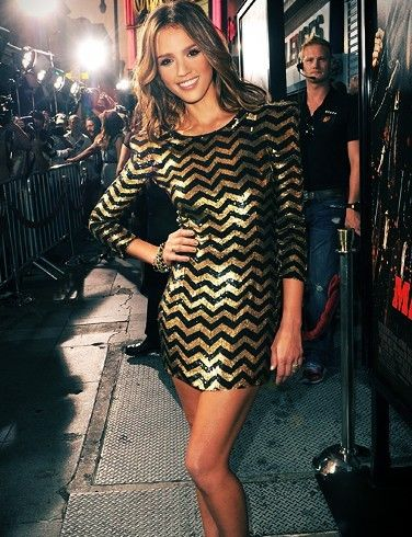 Jessica Alba in the cutest gold chevron dress. Perfect for a holiday party!