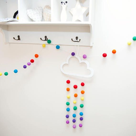 Rainbow Cloud Pom Pom Set