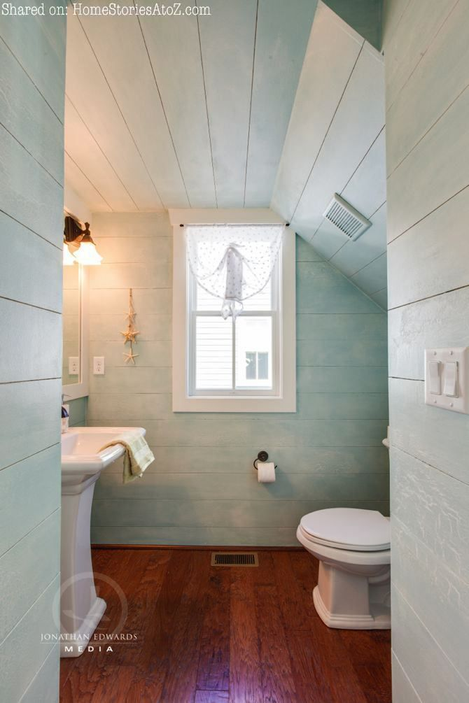 Planked walls. Half-bath under stairs. Click to see entire home tour.