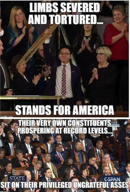 Dems so partisan they can't applaud American success! Showing their true colors, not Red White & Blue, but old Communist Red!