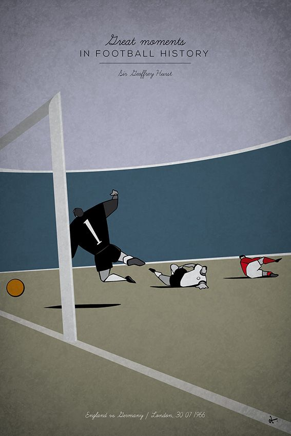GEOFF HURST, 1966 - Football fan and designer Osvaldo 'Oz' Casanova has recently created a uniquely designed football history illustration series covering some the most famous, and sometimes infamous, moments in world football from the last 50 or so years.