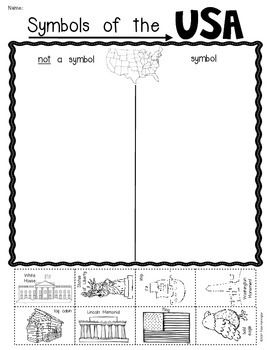 Symbols of the USA; sorting activity. Perfect for Kindergarten and First Grade. $