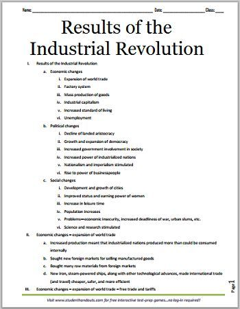 best industrial revolution images industrial  results of the industrial revolution printable outline for grades 7 12