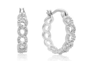 Infinity Diamond Hoop Earrings, Platinum Overlay, 3/4 Inch  BOGO promotion (Buy One Pair, Get One Pair Free), starting at AU$23.60 from Superjeweler.com  (price correct as at 28/09/17 - price subject to change according to exchange rate from USD to AUD).