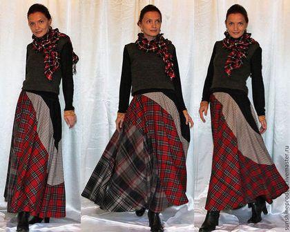 "Юбка ""Авангард"" - в клеточку,юбка макси,юбка в пол,юбка длинная,юбка-солнце"