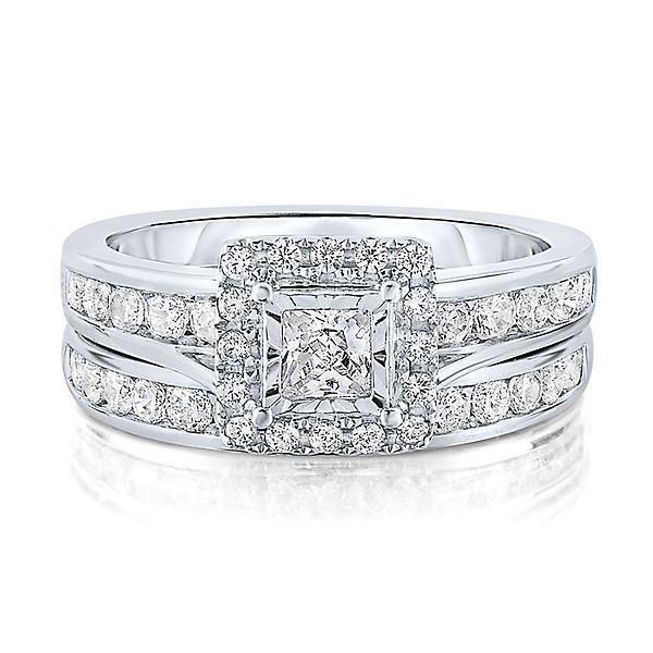 1 1/2 ct. tw. Diamond Halo Engagement Ring Set in 14K White Gold - 2163092