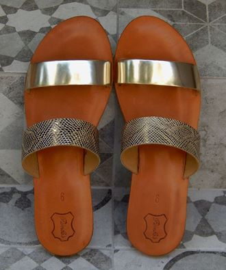 Handmade leather sandal ARIADNE  ... gold with  golden snake...... Romba's leather sandals, bags, tobacco pouches, lighters cases, notebooks and more