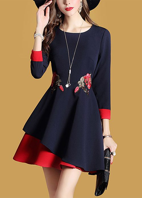 Women's Going out Casual/Daily Street Chic Embroidered Round Neck A Line Dress