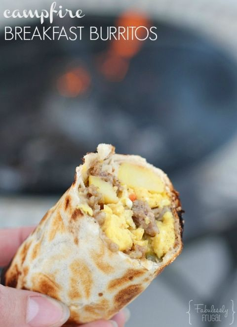 Camping breakfast burritos with potatoes, sausage, and egg - also a great freezer meal or make ahead meal