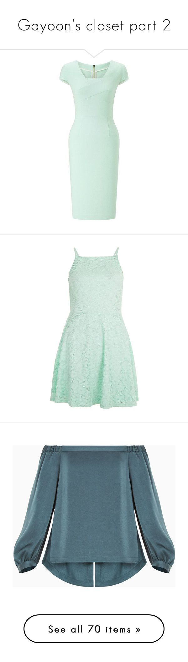 """""""Gayoon's closet part 2"""" by truekpopper4life ❤ liked on Polyvore featuring dresses, midi, green wrap dress, pastel dress, midi wrap dress, cap sleeve midi dress, cap sleeve dress, mint green, night out dresses and mint green party dress"""