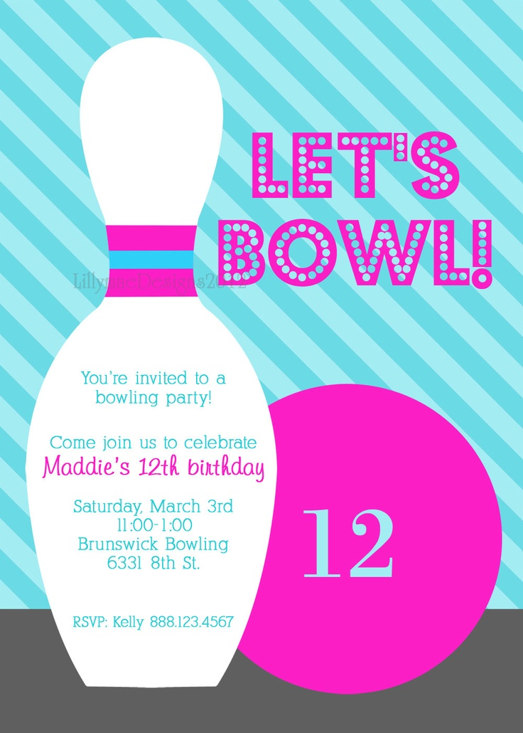 Best Bowling Invitation Images On   Birthdays