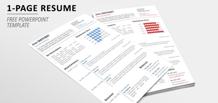1-Page Minimalist Resume\/CV Template for PowerPoint Resume \/ CV - resume 1 page