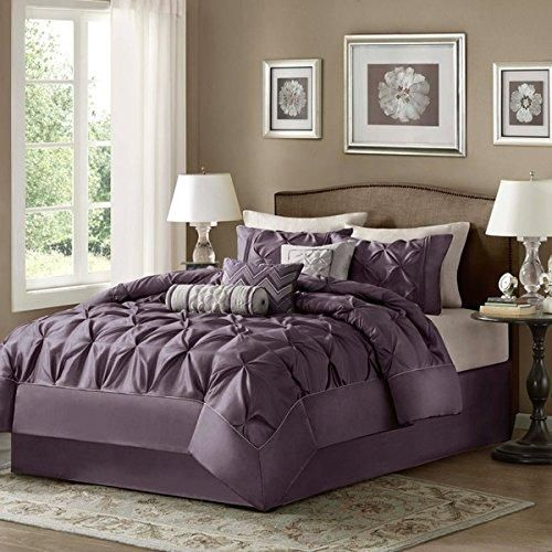 Queen Puckered Comforter Set Stylish Pinch Pleated Bedding Tufted Pintucks Pattern Buttonless Geometric Design Plum Solid Color