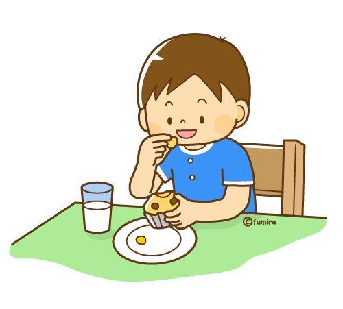 おやつをたべる男の子のイラスト(ソフト)