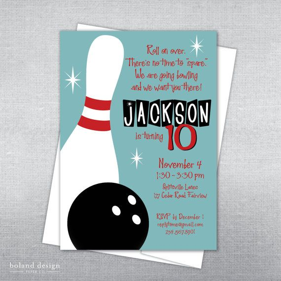 Boland Design Paper Co. Bowling birthday invitation. Bowling party invitation. Bowling ball and pin invitation. on Etsy, $15.00
