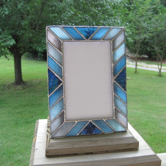 Shades of Blue 4 x 6 Stained Glass Picture Frame by hobbymakers, $24.00