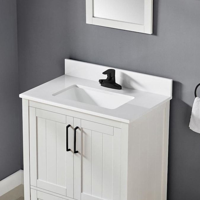 Ove Decors Cliff 30 In White Single Sink Bathroom Vanity With White Cultured Marble Top Mirror Included Lowes Com In 2020 Single Sink Bathroom Vanity Bathroom Sink Vanity Bathroom Vanity