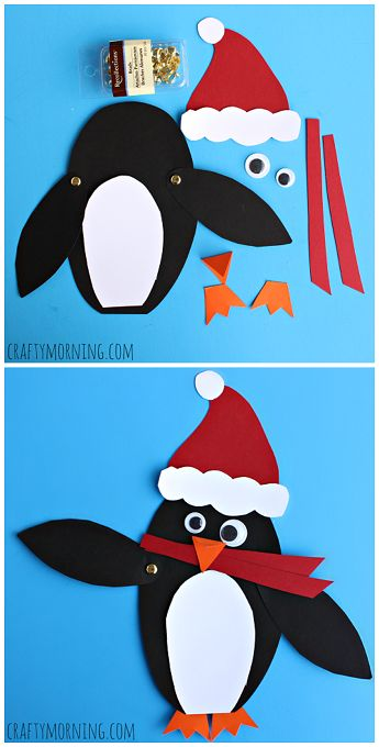 Adorable Christmas penguin craft! #Santa #Winter or Christmas craft for kids | CraftyMorning.com