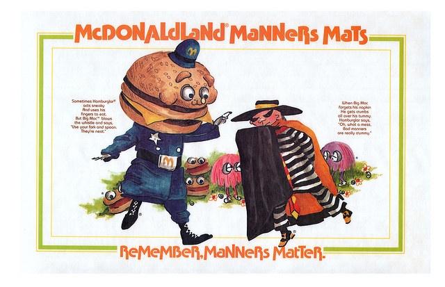 McDonaldland Manners Mats - Big Mac and Hamburglar - 1970's by JasonLiebig, via Flickr