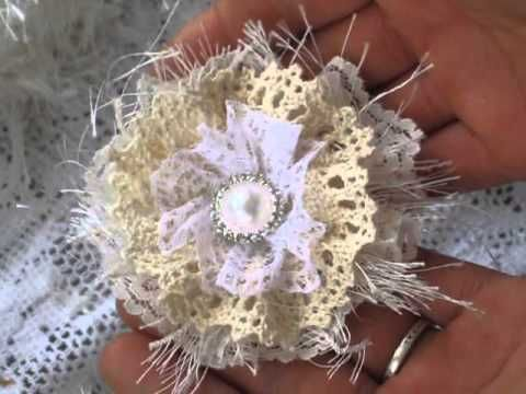 ▶ Simple Shabby flower tut using laces from craftsupplies1 - YouTube