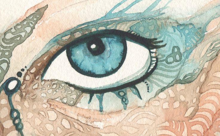 MAORI TA MOKO 11 x 85 imprimé d'aquarelle par DeepColouredWater