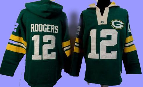 Green Bay Packers Aaron Rogers Long Sleeve .Pullover Rib-knit cuffs and waist, Soft fleece lining and stitched numbers and Aaron Rogers name and number on the back