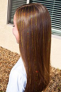 DIY hair tinsel!  Might have to try this on the girls