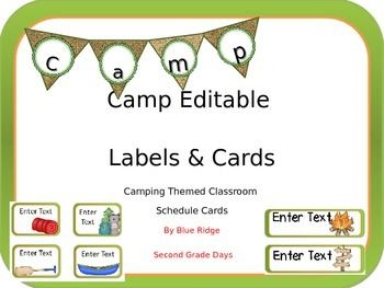 Camping Theme Classroom Decoration Labels and Cards: This set of editable labels and cards are great to use for book boxes, word wall headers, or in any other way to help label your room. This set includes 2 different sizes. There are 60 small square labels and 60 rectangle labels.