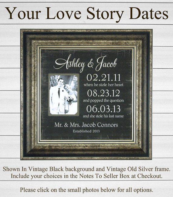 Important Dates Mr Mrs Bride Groom Custom Photo Frame by PhotoFrameOriginals