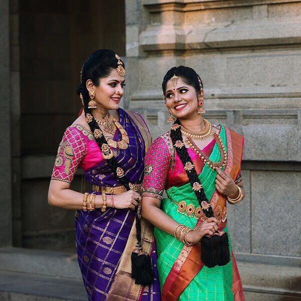 South Indian bride. Gold Indian bridal jewelry.Temple jewelry. Jhumkis. silk kanchipuram sari. Braid with fresh flowers. Tamil bride. Telugu bride. Kannada bride. Hindu bride. Malayalee bride.Kerala bride.South Indian wedding. Pinterest: @deepa8
