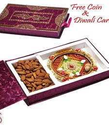 Buy Bandhni Thali and Roasted Almond Gift Box diwali-dry-fruit online