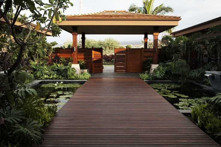 A serene and lovely boardwalk over a lily pond.  By Gina Willman, ASID, Willman Interiors.