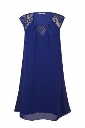Naf naf nouvelle co h15 robe fluide avec broderie manches courtes bleu klein 1