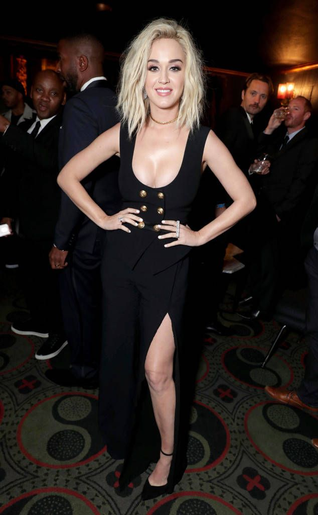 """Katy Perry from Grammys 2017 After-Party Pics  After performing """"Chained to the Rhythm,"""" the pop princess changes into a new look for Universal Music Group's 2017 Grammy After-Party."""