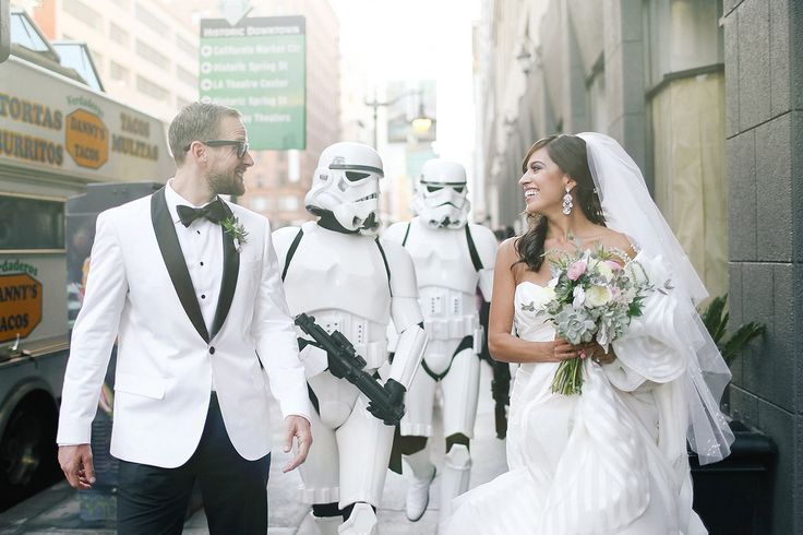 Elegant Star Wars theme wedding. Complete with Father dressed as Vader for the Father daughter dance :)