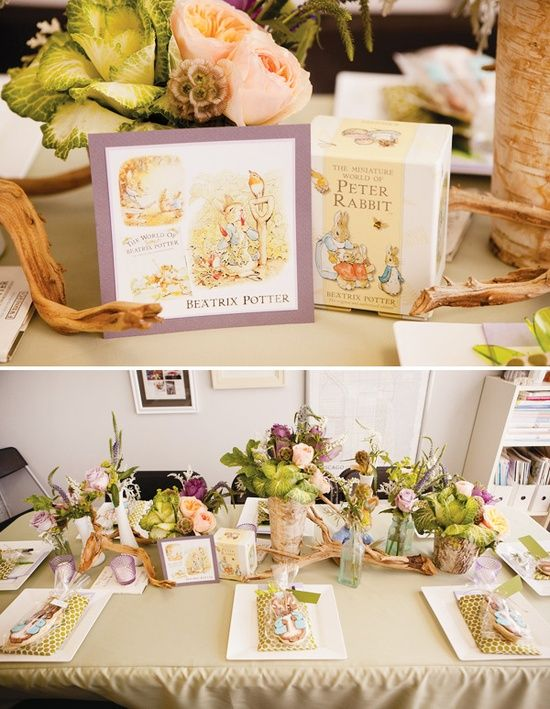 Classic Children's Book Baby Shower with a Peter Rabbit themed table