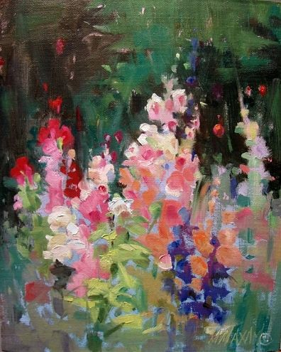 ❀ Blooming Brushwork ❀ - garden and still life flower paintings - Hollyhock Garden, painting by artist Mary Maxam