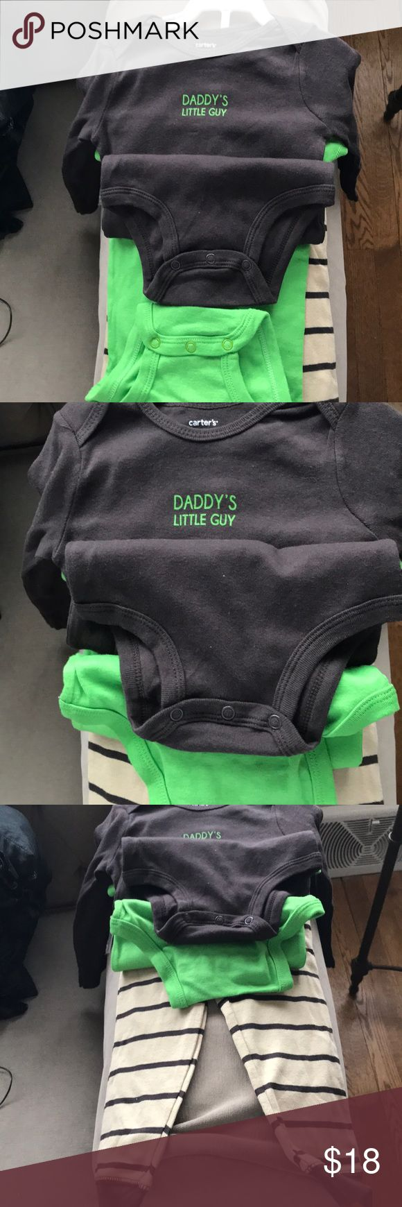 Cutest ever: baby boy cotton 3 piece set Boo Tom has a monkey, so does the green bodysuit. Brown bodysuit says Daddy's little guy. carters Matching Sets