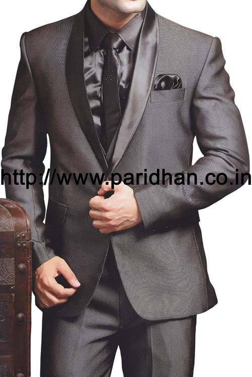 Fashionable look 3 piece groom wedding party wear suit made in grey color polyester fabric. It has bottom as trouser made in grey color polyester fabric.
