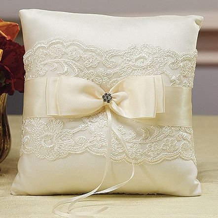 Ivory French Lace Ring Pillow