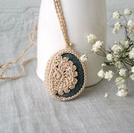 Crochet Stone Necklace Crochet Jewelry Lace от MariaKonstantin
