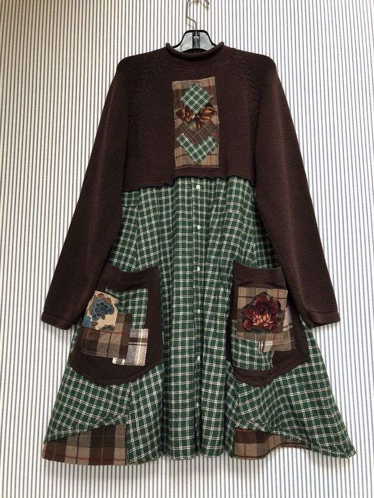 Rustikale Cabin Chic Chic Arty Pullover Kleid, Flanellhemd Tunika, warme Winter Pullover Loose Fit umgestaltete Pullover Upcycled
