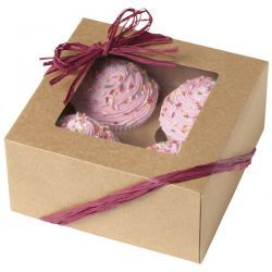 Cajas, pack 3 cajas presentación para 4 cupcakes Kraft Wilton