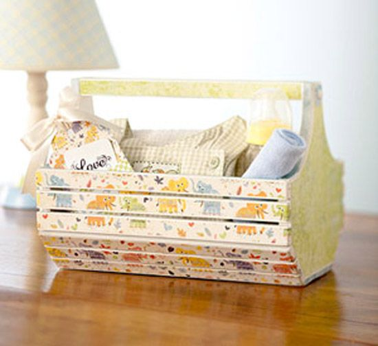 Give a basic wooden basket a makeover with paint, patterned paper, and a bit of imagination. After painting the piece, trim paper strips to fit the basket and use decoupage medium to adhere and seal. Add a decorative tag and fill the basket with goodies.