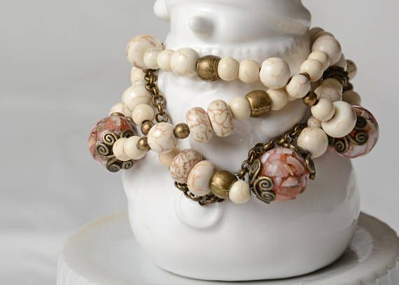 Bracelet color ivory stone turquoise ivory accessory antique