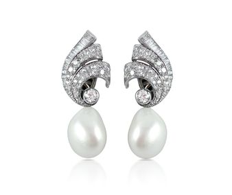 A Pair of Diamond & Detachable Cultured Pearl Earrings, by Bulgari, circa 1950's